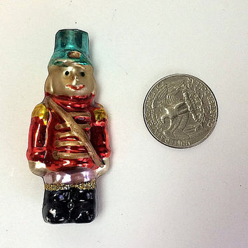 Old Toy Soldier Rare Ornament Mercury Glass Christmas Mini Miniature Tiny Face Antique Red Gold Blue Free US Shipping Soaring Hawk Vintage