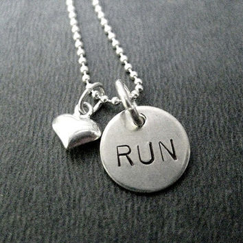 LOVE Your RUN Sterling Silver Puffed Heart Running Necklace - 16, 18 or 20 inch Sterling Silver Ball Chain - Run Jewelry - Heart to Run