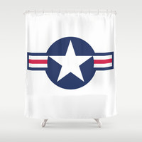 US Air force Roundel insignia Shower Curtain by Bruce Stanfield