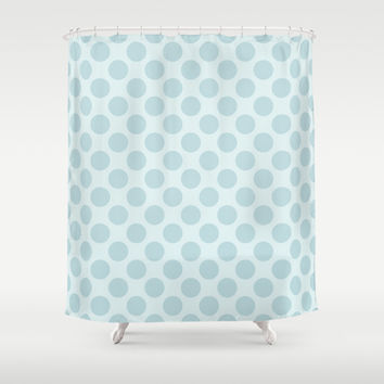 Pale Blue Polka Dots  Shower Curtain by KCavender Designs