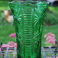 Large Green Glass Vase