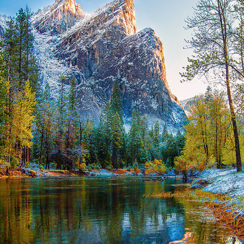 Yosemite Photo, California Landscape Art, Three Brothers, Canvas Galley Wrap, Merced River Print, Morning Light Photo, Wall Decor, Fine Art