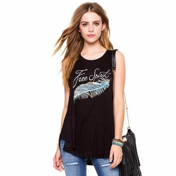 PEAPUNT Newly Design Fashion Women Girls Free Spirit Letter Feather Printed Sleeveless Black Loose Tank Tops 160623