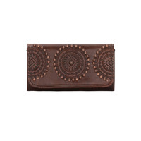 Kachina Spirit Ladies Tri-fold Wallet - Chestnut Brown