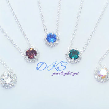BRIDESMAID NECKLACE BUNDLE,swarovski 8mm, set of five, halo crystal,choose color and finish, great price,dksjewelrydesigns