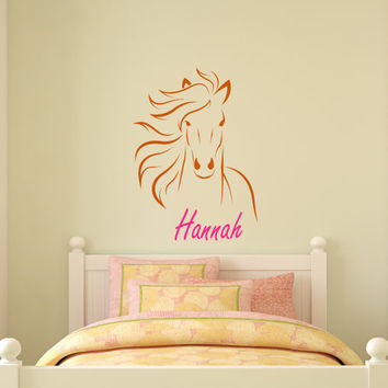 Horse name horse decal personalized sticker pony mustang girls vinyl wall decor inches 22 X 31 inches