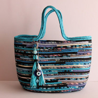 RESERVED LISTING For ANNA, turquise and Black Basketbag, Bohochic Basket Bag, Upcycled Basket Tote Bag