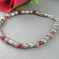 Tibetan Silver Red Crystal Bracelet, Etched Silver Beaded Bracelet, Silver Bracelet Red Crystals, Small Silver Beads Bracelet