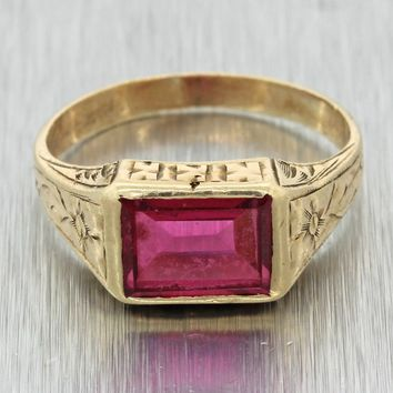 1930s Antique Art Deco Estate 10k Yellow Gold Red Glass Cocktail Ring