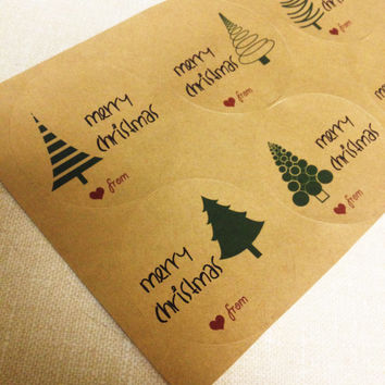 "Kraft Brown Christmas Trees Happy Holidays or Christmas Labels for Gift Tags or Mason Jars - 2"" & 2.5"" round tags"