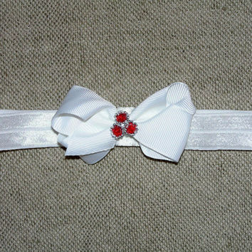 Baby Christmas bow ,  white mini bow , satin elastic headband , infant Christmas hair bow , baby headband , toddler Christmas , 2.5 inch