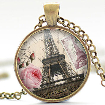 Paris Necklace, Vintage Style Paris Jewelry, Eiffel Tower Pendant, Paris Charm (471)