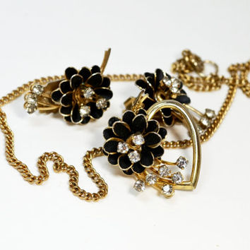 Art Deco Black Enamel Clear Crystal Flowers Necklace and Clip Earrings Vintage Jewelry Set Demi Parure