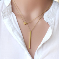 layering gold long bar necklace layered set, hand stamped initial heart necklace bridesmaid gifts,delicate everyday,birthday,wedding jewelry