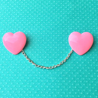 "Valentine's Day ""Pretty Pink Heart"" Large Pink Heart Collar Clips or Sweater Guards"