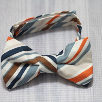 Striped Bow ti baby and toddler Boy photo prop, church, birthday, easter ring bearer blue orange navy stripes