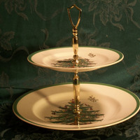 Vintage Spode Christmas Tree Double Tier Tray, Traditional Holiday Home Decor, Pristine Condition Serving Piece Made in England, Boxed