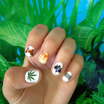 90's style photo real water slide nail decals transfers - Club kid, raver, seapunk, nail art