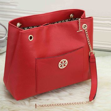 Tory Burch Trending Women Stylish Leather Handbag Shoulder Bag Crossbody Satchel Red