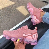 Nike Air Vapormax Flyknit 2.0 Rose Pink Fashionable Women Air Cushion Running Sport Shoes Sneaker I/A