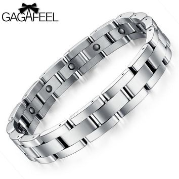Fashion Men Titanium Steel Magnetic Bracelet Business Bangle Health Wristband Link Chain Luxury Jewelry Friendship Gifts B8012