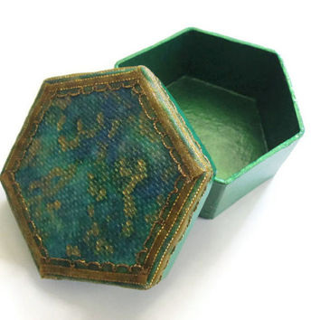 Trinket or Christmas Gift Box in emerald green and blue, trimmed with metallic gold ribbon, with decoupaged lid, small hexagonal box