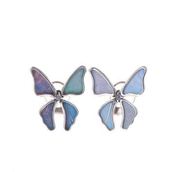 Silver butterfly earrings with rainbow moonstone birthstone - Iridescent Blue  Morpho Didius