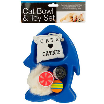 Fish-Shaped Cat Bowl & Toy Set ( Case of 8 )