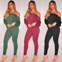Womens Two Piece Sets 2018 Female spring Suit Off Shoulder Sexy Two Piece Set Top And Pants Fashion Plus Size Women Clothing