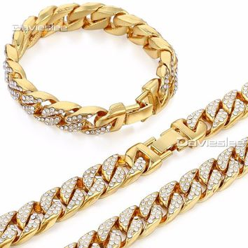 Men's Yellow Gold Curb Link Necklace and Bracelet Iced Out Hip Hop Chain
