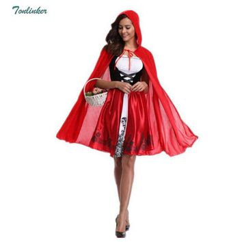 Cool New Little Red Riding Hood Costume Queen Dress Vestido Halloween Cosplay Uniform Adult Cosplay Costume party Dress Plus Size XXLAT_93_12
