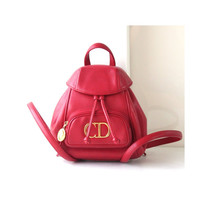 Christian Dior Red small leather backpack authentic vintage handbag