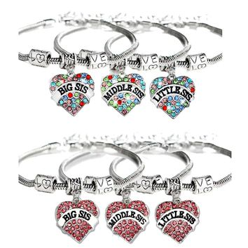3X Big Middle Little Sis Sister Charm Bracelet Family Best Friends Friendship Bracelets BFF Jewelry Love Heart Pendant Women New