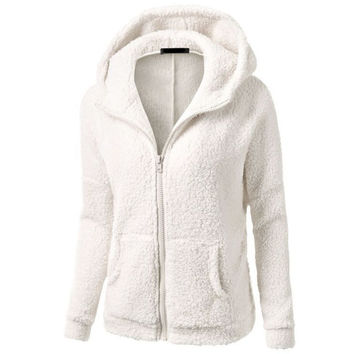 Women Warm Winter Thicken Fleece Coat Zip Up Hooded Slim Parka Jacket Overcoat Hoddies Hot Sale