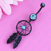 Diamond Feather Dream Catcher Belly Button Ring - Black