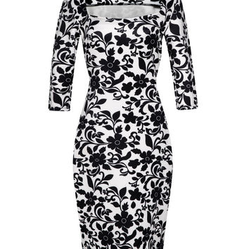Women Dress Elegant Floral Print Work Business Casual Party Summer Sheath Vestidos 094-2
