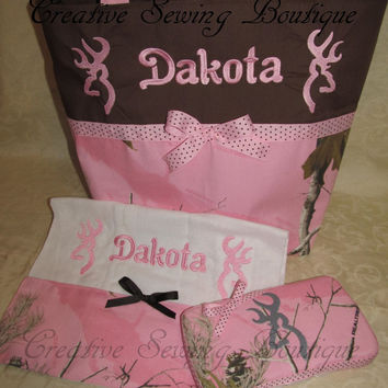 Custom Handmade Realtree pink camo camouflage browning buck inspired diaper bag set with travel wipes and burp cloth, you choose name