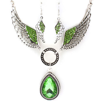 spring green angel wing necklace and earring set
