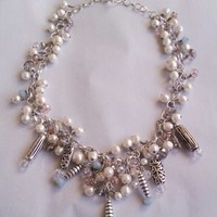 Pearls of Wisdom Statement Necklace with Czech Crystals