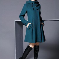 New woman Trench  Double-breasted slim Coats womans Long Winter Wool Long Hooded Coat Ladies Fashion Outerwear