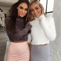 2018 New Autumn and Winter Women Wool Cropped Jumpers Fluffy Mohair Sweater Mujer Pullover Sweaters Crop Top Black Pink