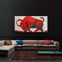 """Painting, Animal BULL WALL ART 48"""" oil painting on canvas, Textured red Luxury looks bull wall art decor, Artwork Gifts -Nandita Albright"""