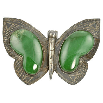Antique Mexican Silver Butterfly Pin