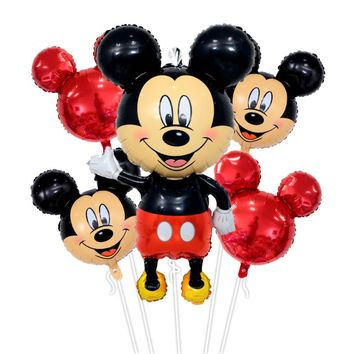 5pcs mickey minnie mouse air Foil Balloons Happy birthday balloons Baby shower boy 1st girl birthday party decoration globos