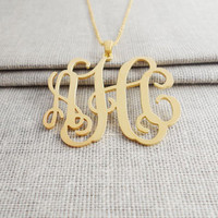 Monogram Script Necklace,3 Initials Charm Necklace 1 inch,Custom Monogram Necklace,Nameplate Necklace Gold,Bridesmaids Gift,Christmas Gift