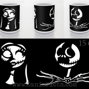 Nightmare Before Christmas Mug Ceramic Holiday Xmas Movie Winter 90s Gift Idea Jack Sally Skellington Cup Hot Drink Pumpkin King Halloween