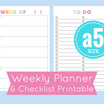 a5 planner inserts, a5 weekly planner inserts, half size planner pages, to do checklist, printable a5 planner pages