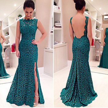 Elegant Women's Green Backless Lace Party Cocktail Long Dress