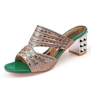 Women's Exquisite Rhinestone Cut-out Shimmered Weft Slide on Heels Comes in Opalescent Apricot and Emerald Green