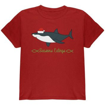LMFCY8 Christmas Shark Seasons Greetings Funny Pun Youth T Shirt